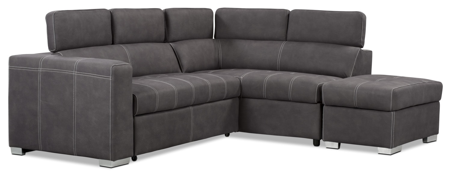 Drake 3 piece faux suede right facing sectional with sofa for 3 piece sectional sofa bed