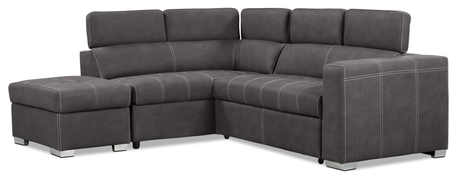 Living Room Furniture - Drake 3-Piece Faux Suede Left-Facing Sectional with Sofa Bed – Cement