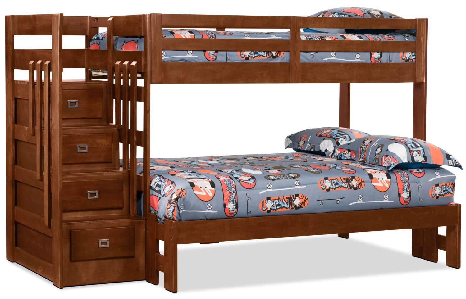 Kids Furniture - Berkeley Twin/Full Staircase Bunk Bed