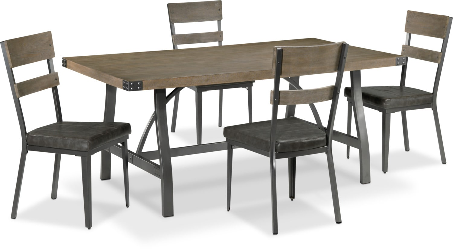 Danica 5-Piece Dinette Set - Rustic Pine and Grey