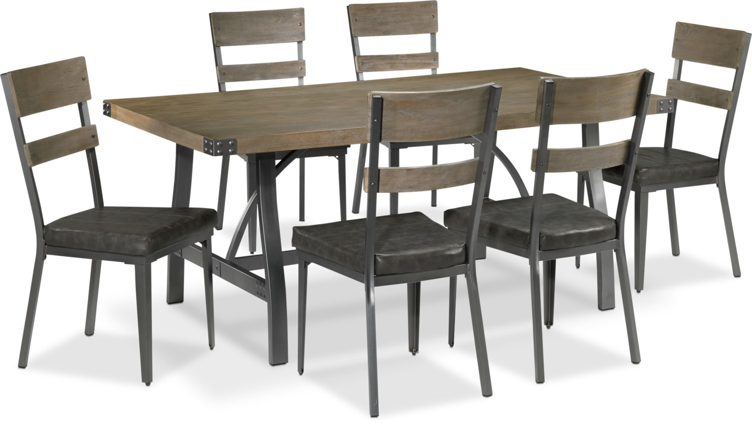 Danica 7-Piece Dinette Set - Rustic Pine and Grey