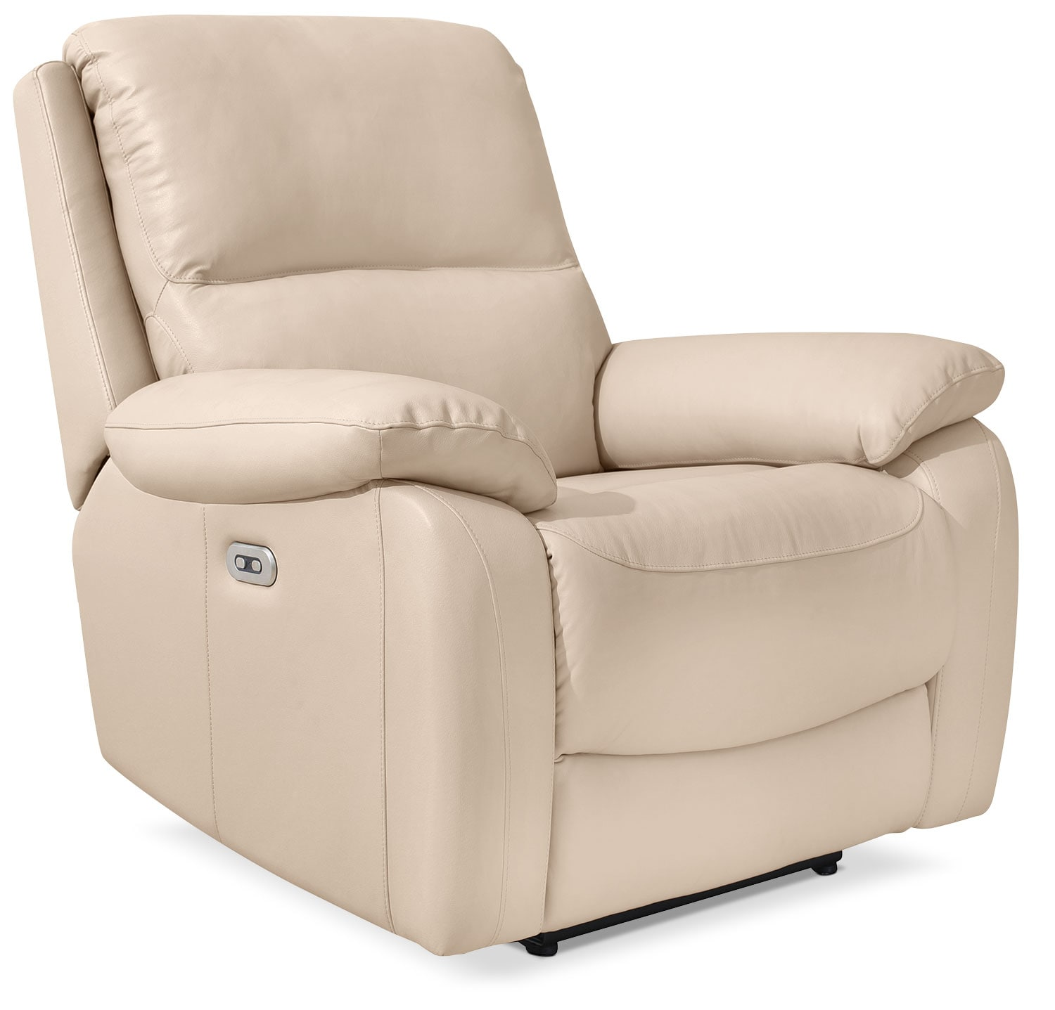 Grove Genuine Leather Power Reclining Chair with Adjustable Headrest – Cream