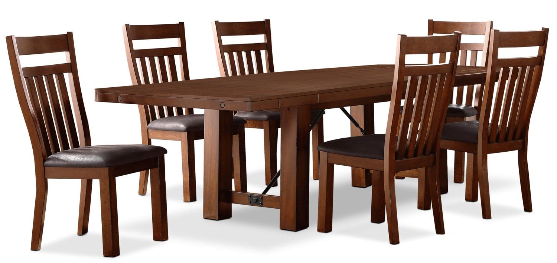 Ensemble de salle manger diego 7 pi ces avec chaises en for Ensemble salle a manger en bois