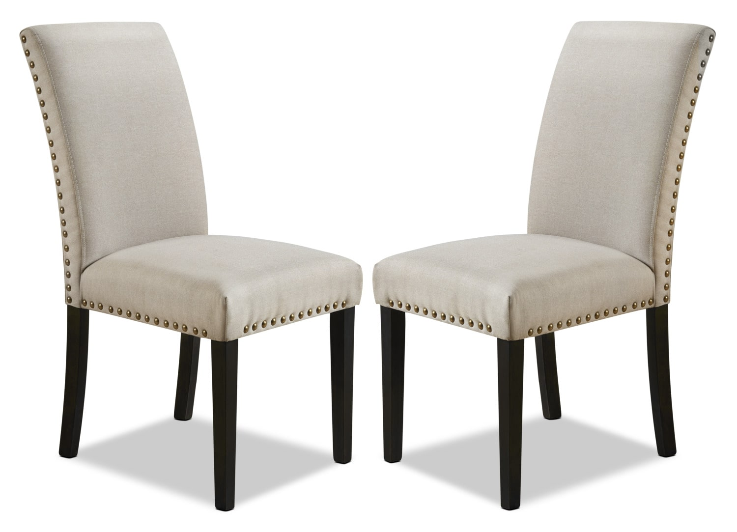 York Studded Dining Chair, Set of 2 – Beige