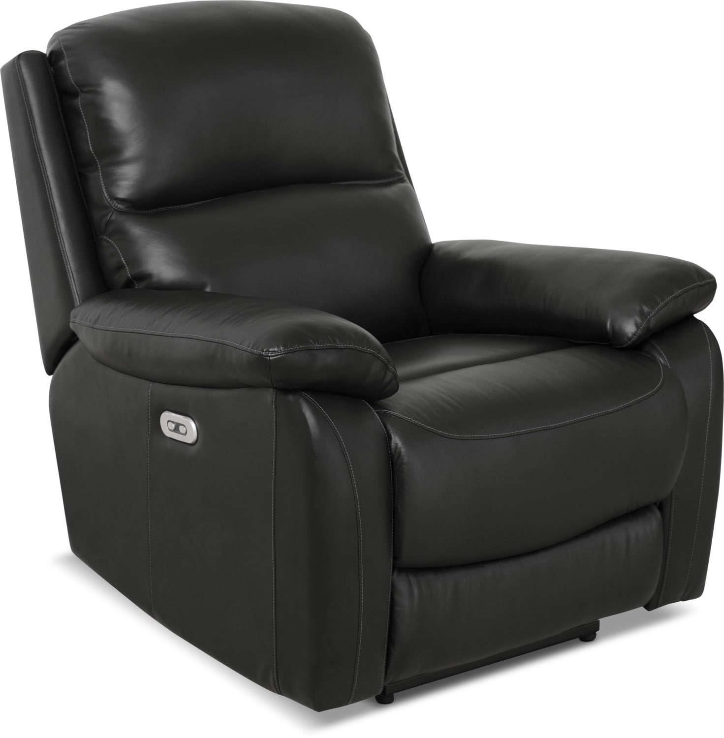 Grove Genuine Leather Power Reclining Chair with Adjustable Headrest – Black