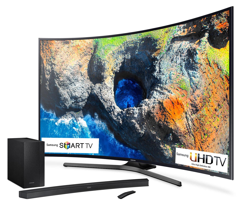 "Samsung 65"" 4K Curved TV and Sound Bar Bundle - UN65MU6500/HW-M4500"