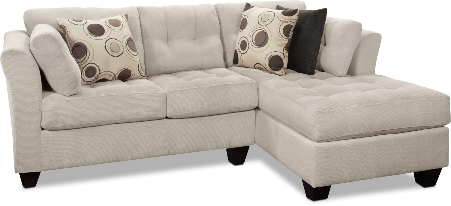 Designed2B Dez 2-Piece Right-Facing Textured Chenille Sectional – Plush Pewter