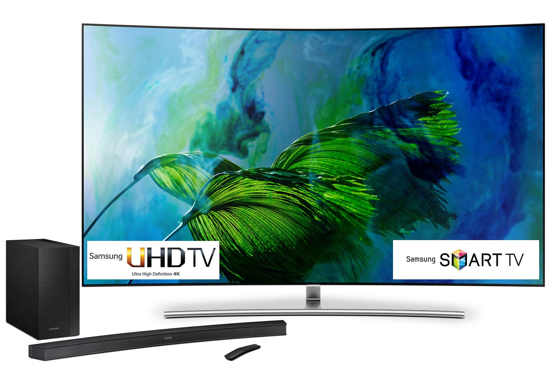 "Samsung 75"" 4K Curved QLED TV and Sound Bar Bundle - QN75Q8C/HW-M4500"