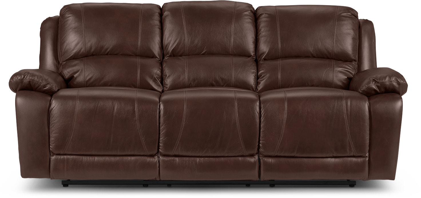 Marco Genuine Leather Reclining Sofa Chocolate The Brick