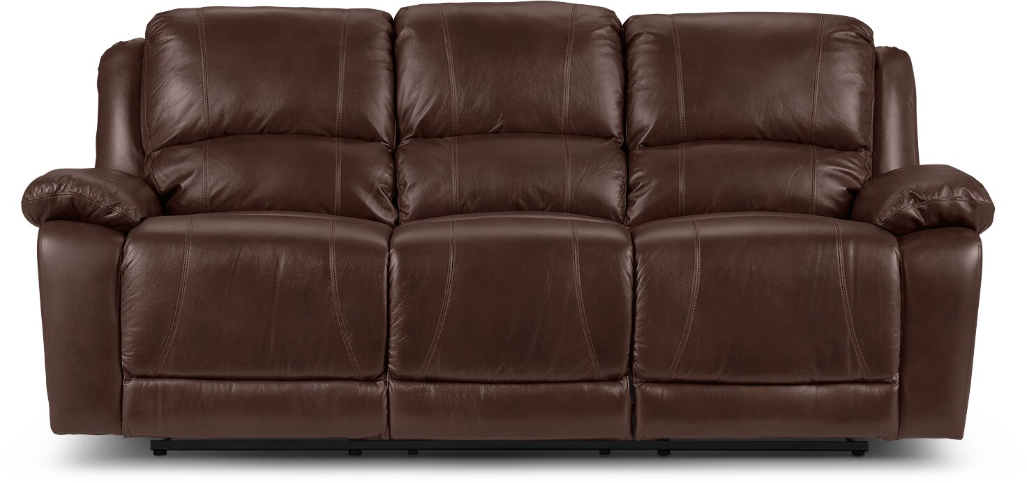 Living Room Furniture - Marco Genuine Leather Power Reclining Sofa - Chocolate