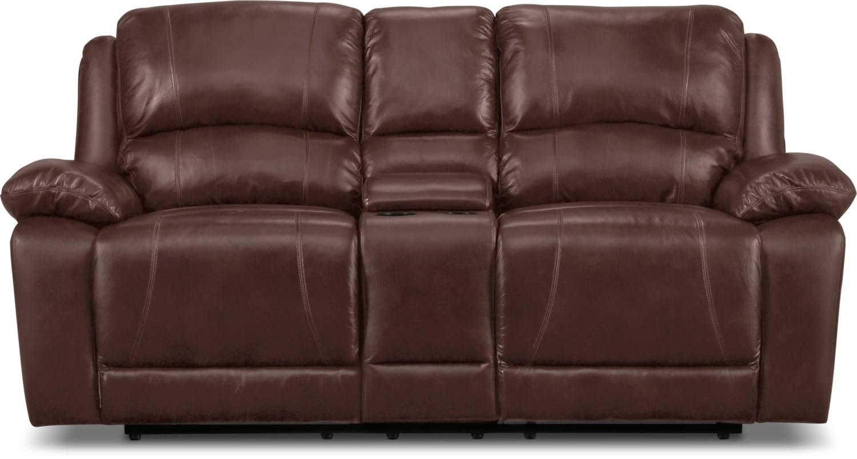 Mobilier de salle de séjour - Causeuse inclinable Marco en cuir véritable - chocolat
