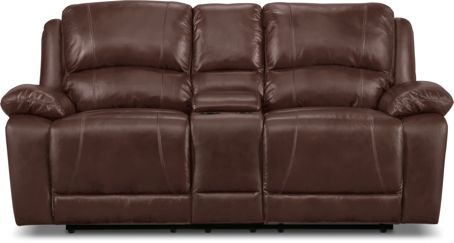 Living Room Furniture - Marco Genuine Leather Power Reclining Loveseat - Chocolate
