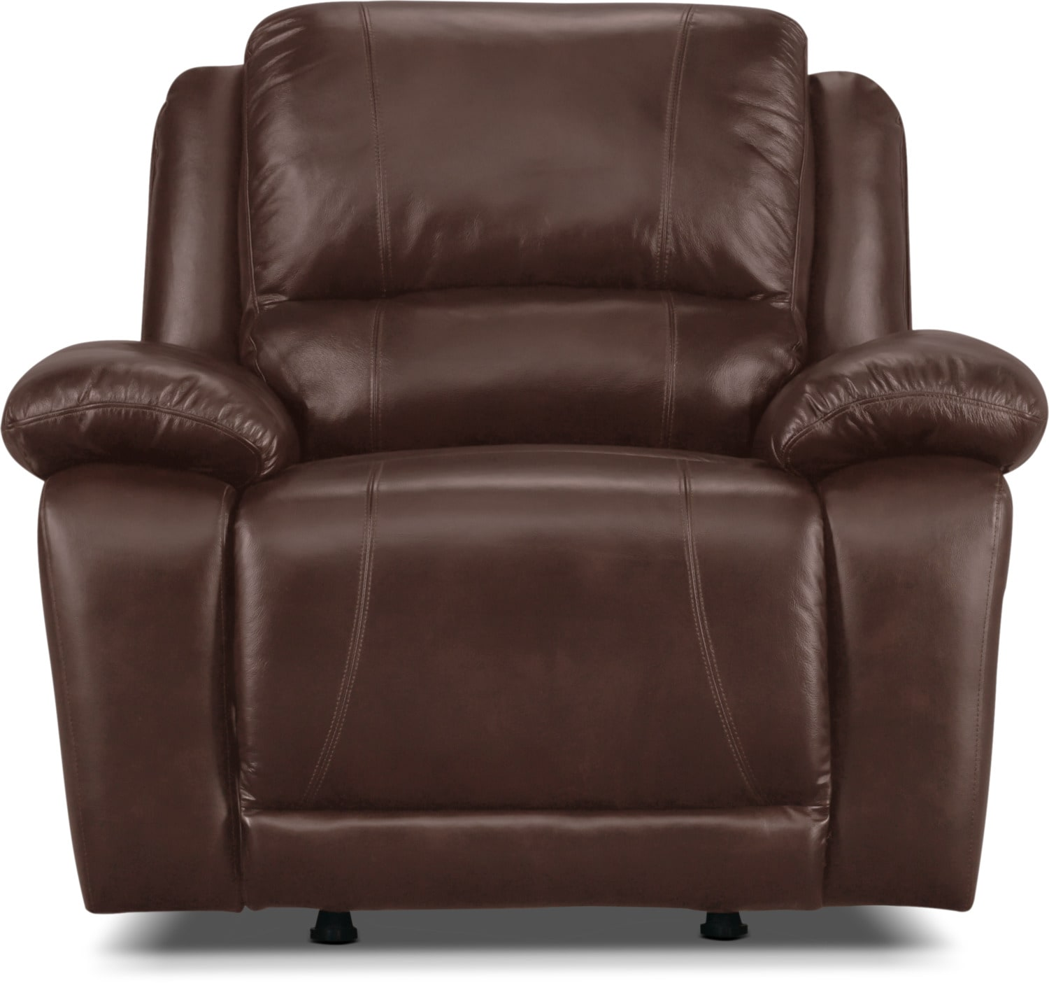 Living Room Furniture - Marco Genuine Leather Rocker Reclining Chair - Chocolate