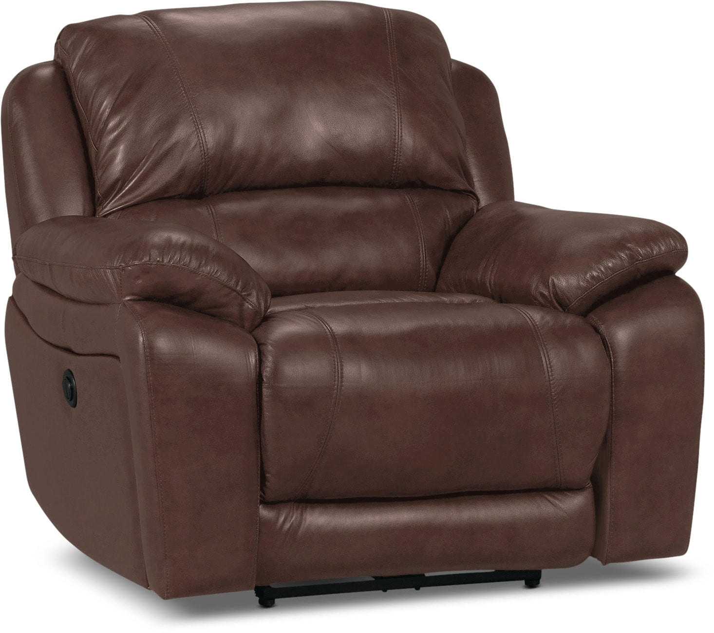 Living Room Furniture - Marco Genuine Leather Power Recliner - Chocolate