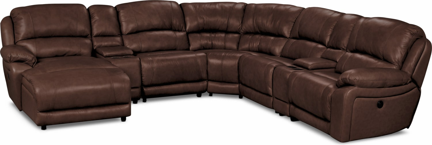 Living Room Furniture - Marco Genuine Leather 7-Piece Sectional– Chocolate