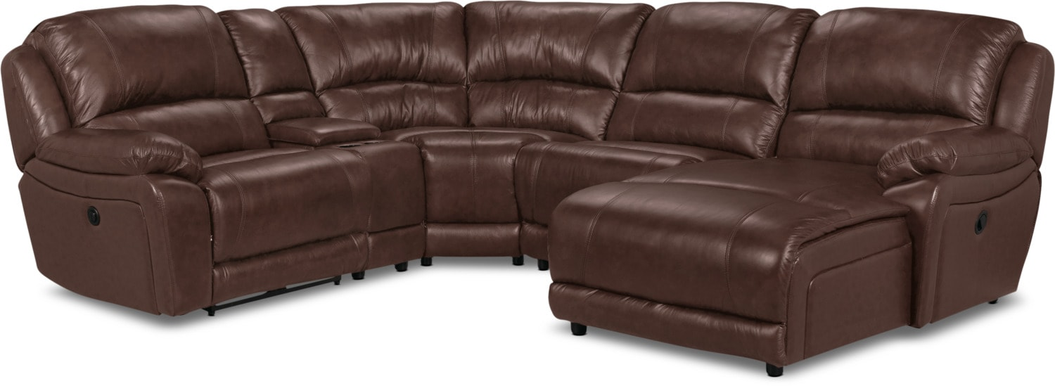 Living Room Furniture - Marco Genuine Leather 5-Piece Sectional with Right-Facing Inclining Chaise – Chocolate