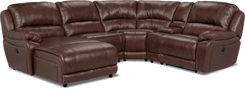 Mobilier de salle de séjour - Sofa sectionnel Marco 5 pièces en cuir véritable avec fauteuil long inclinable de gauche - chocolat