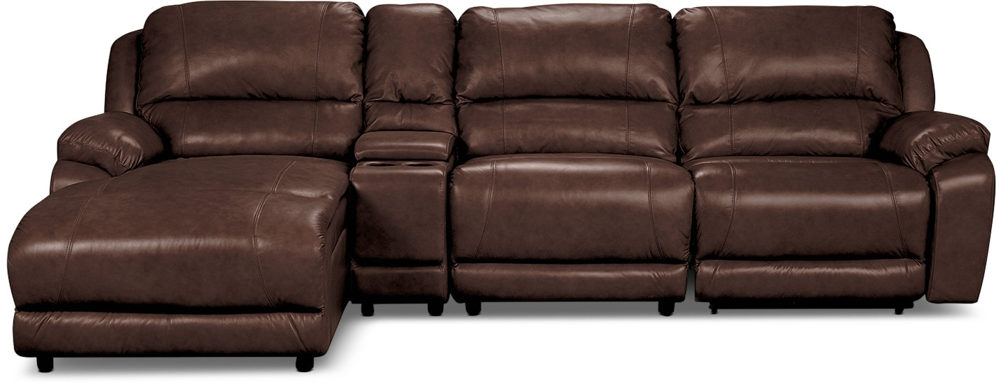 Living Room Furniture - Marco Genuine Leather 4-Piece Sectional with Power Recliner and Console– Chocolate
