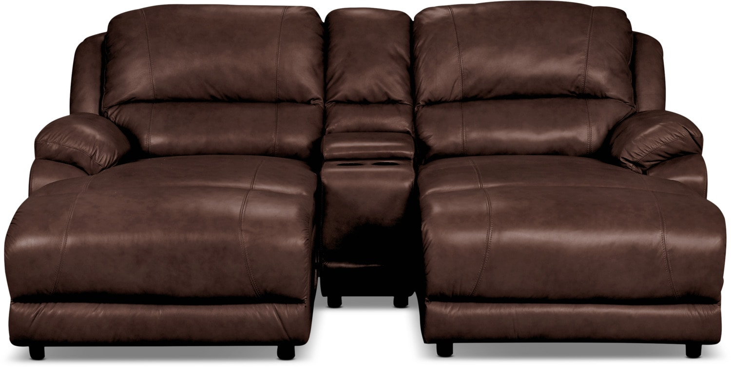 Living Room Furniture - Marco Genuine Leather 3-Piece Sectional with Console– Chocolate