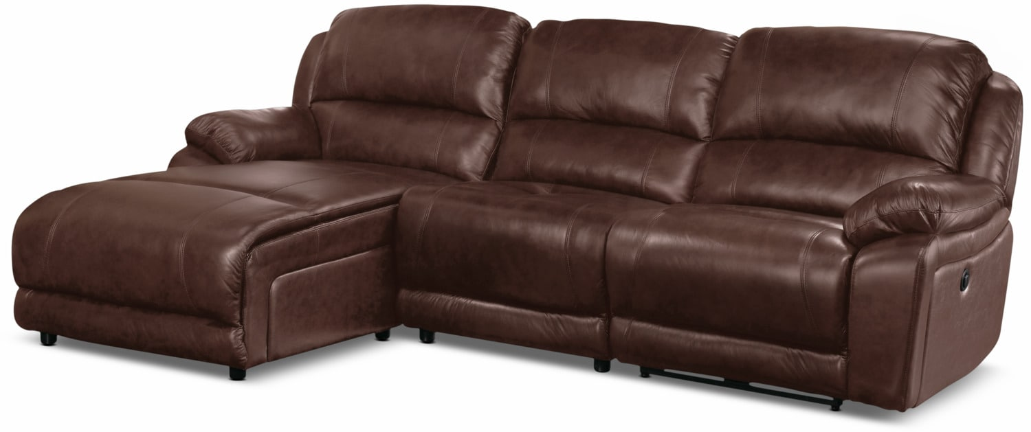 Living Room Furniture - Marco Genuine Leather 3-Piece Sectional with Left-Facing Inclining Chaise– Chocolate