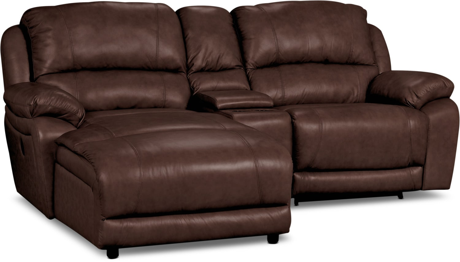 Marco Genuine Leather 3-Piece Sectional with Chaise, Power Recliner, and Console– Chocolate