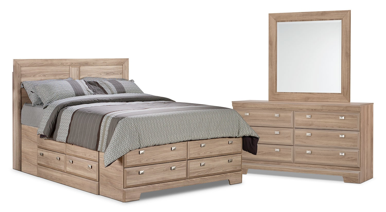 Chambre à coucher - Ensemble de chambre à coucher Yorkdale 5 pièces avec lit double de rangement - clair