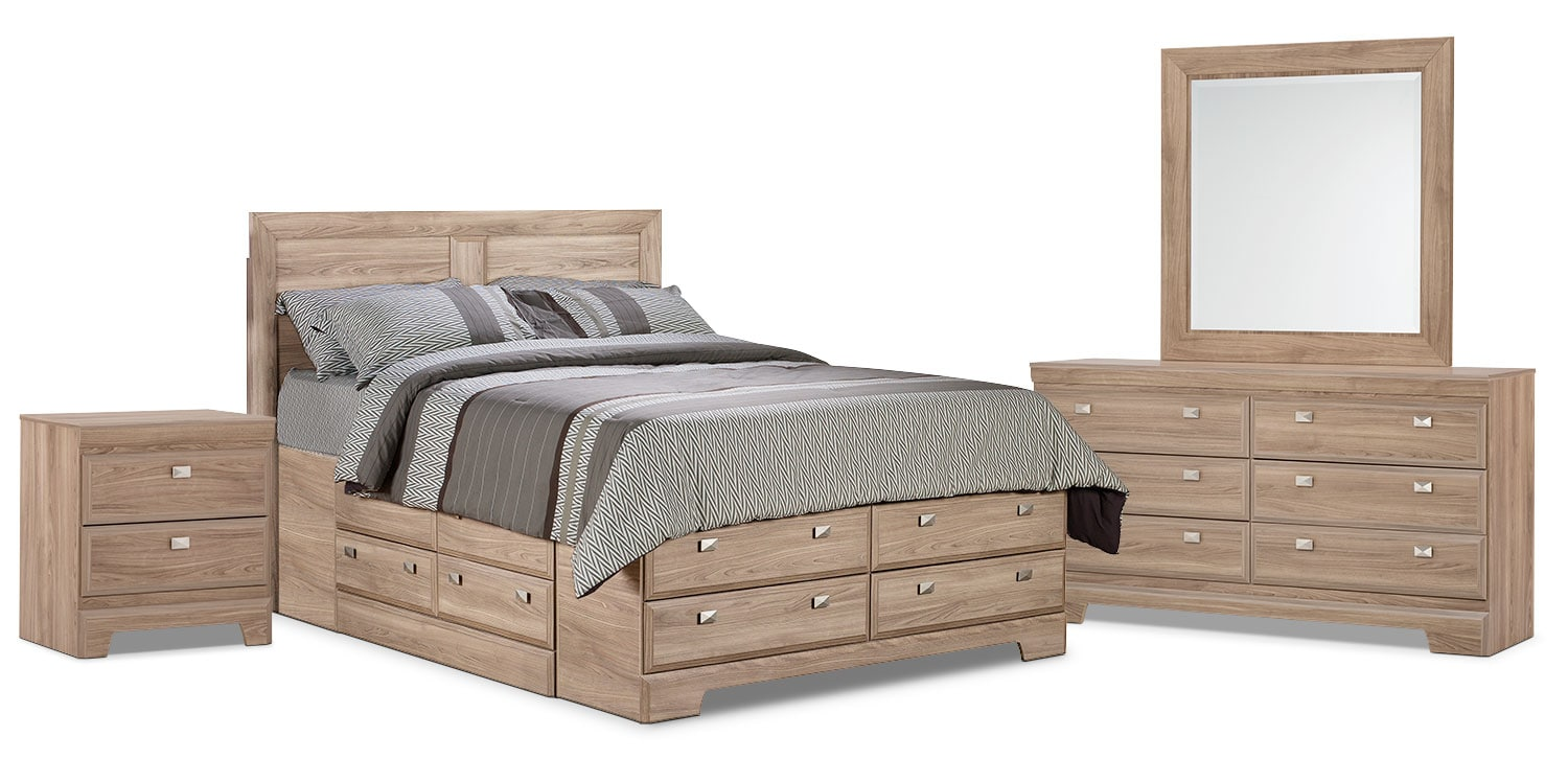 Yorkdale Light 6-Piece Queen Storage Bedroom Package