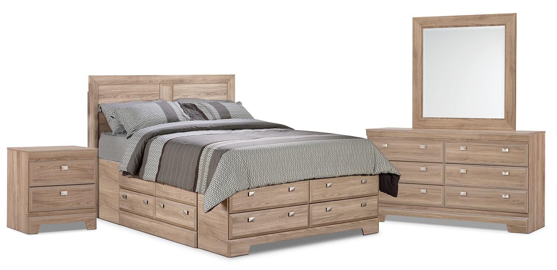 Chambre à coucher - Ensemble de chambre à coucher Yorkdale 6 pièces avec grand lit de rangement - clair