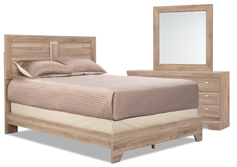Chambre à coucher - Ensemble de chambre à coucher Yorkdale 5 pièces avec grand lit à panneaux - clair