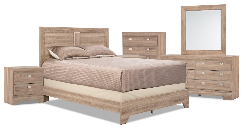 Bedroom Furniture - Yorkdale Light 8-Piece Queen Panel Bedroom Package