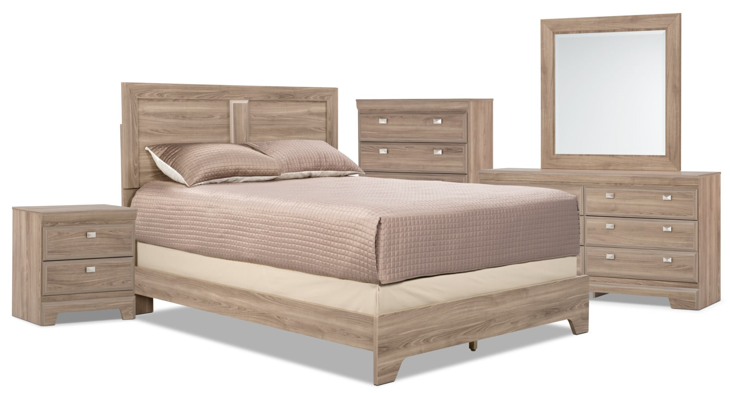 Yorkdale light 7 piece queen panel bedroom package the brick for Bedroom furniture package deals