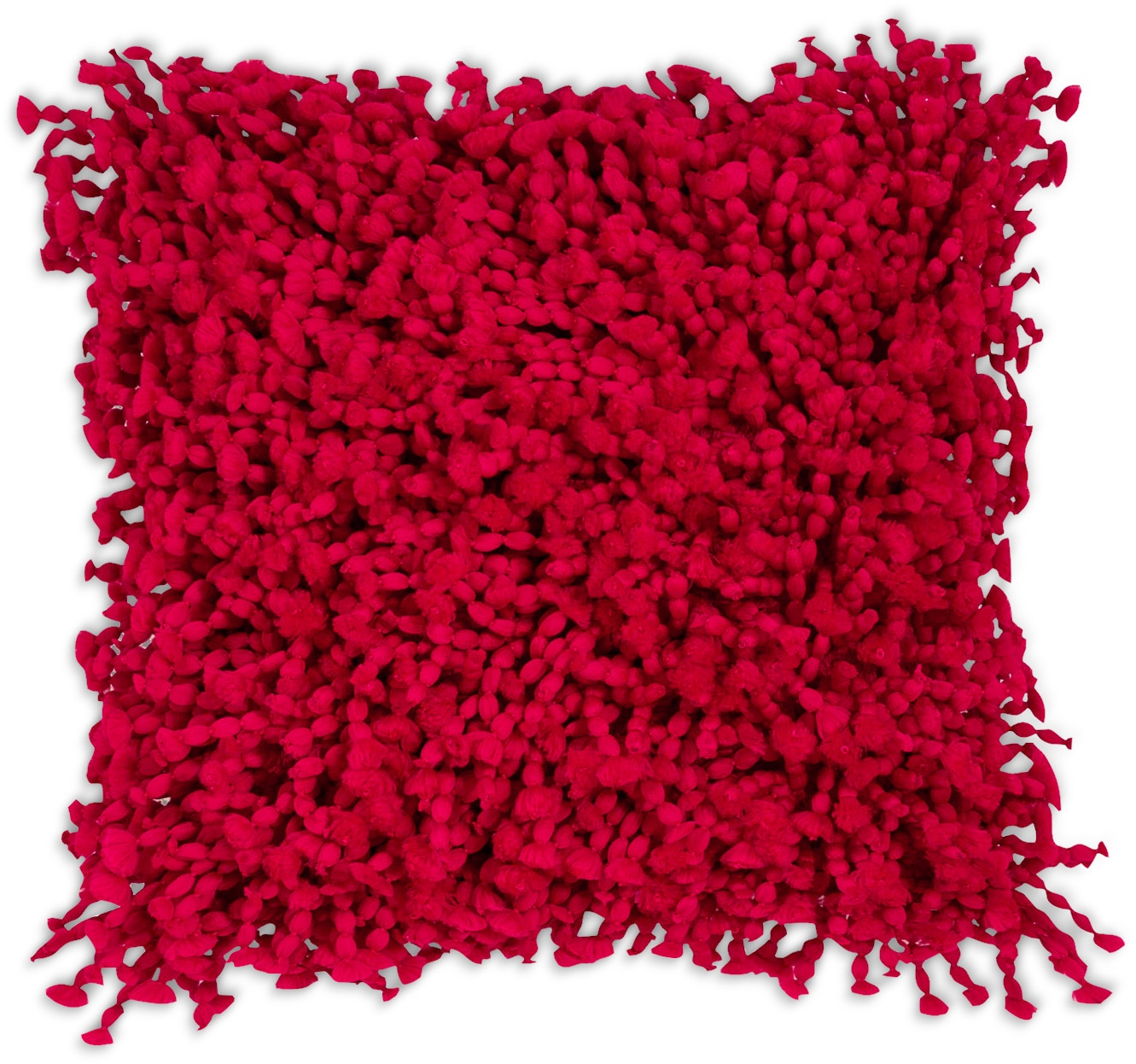 Shaggy Accent Pillow – Red