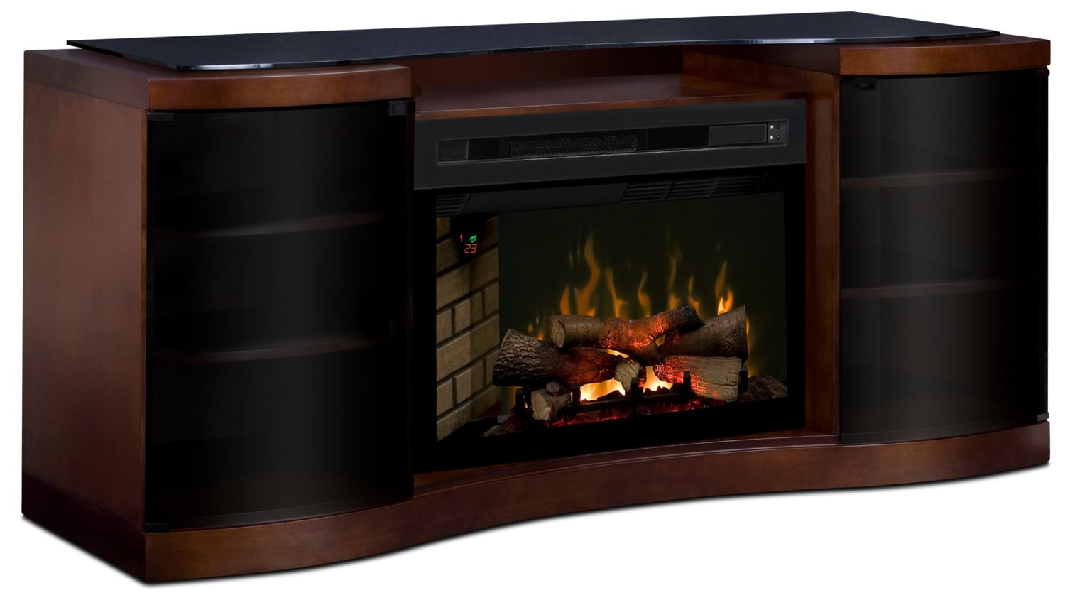"Grandview 73"" TV Stand with Log Firebox"
