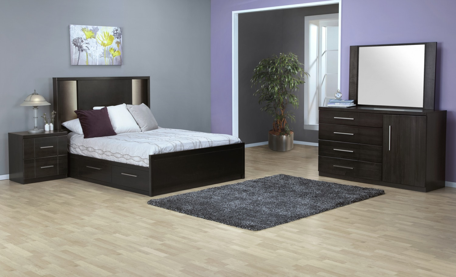 Seville 7-Piece Queen Storage Bedroom Set - Charcoal