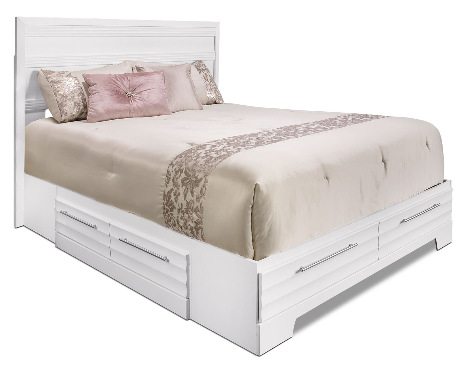 Olivia Queen Storage Bed White The Brick