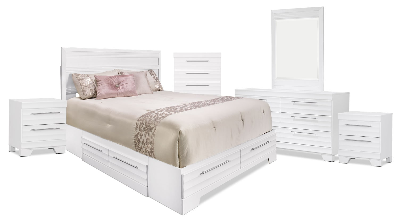 Bedroom Furniture - Olivia 8-Piece Queen Storage Bedroom Package – White