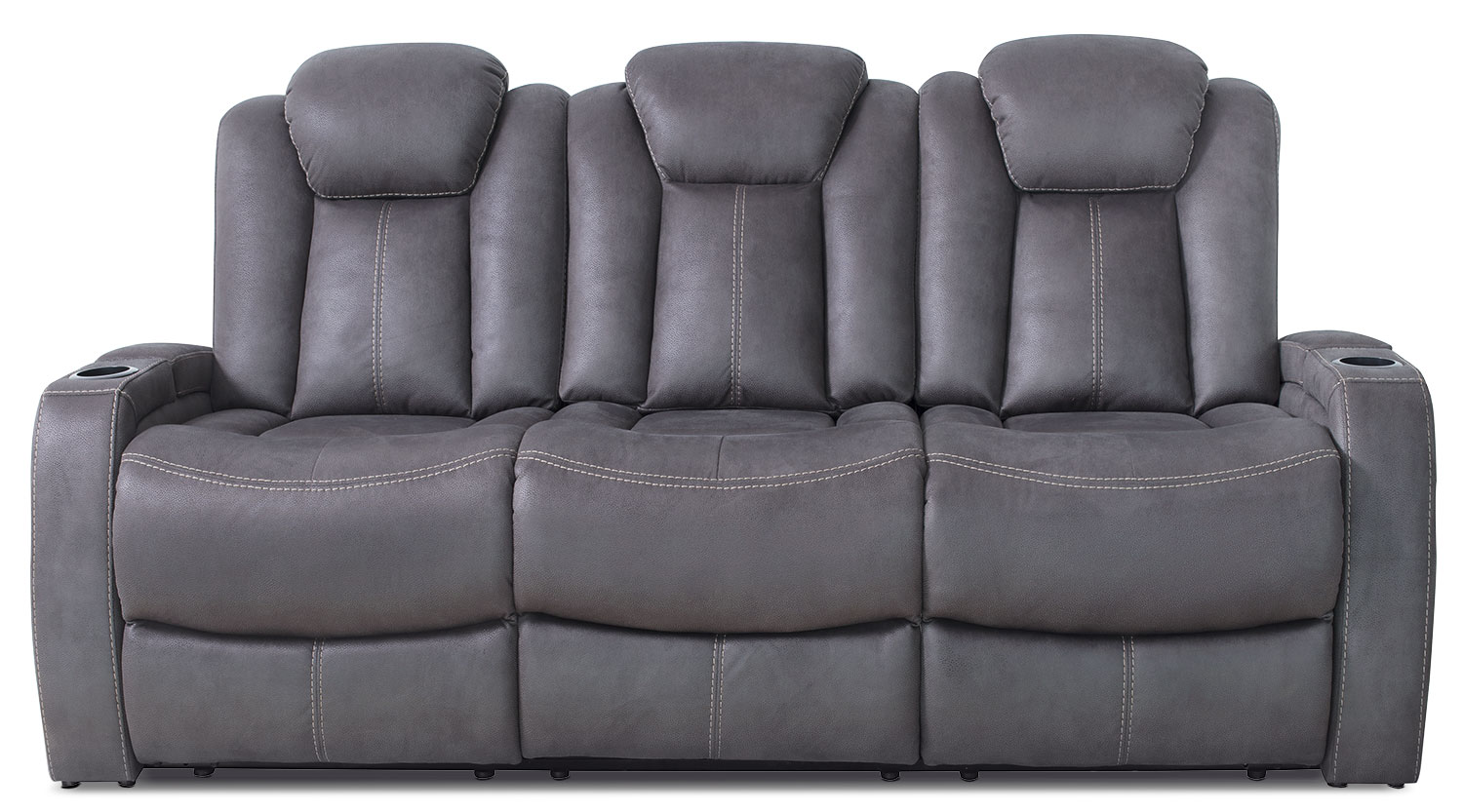 Ross Genuine Leather Power Reclining Sofa – Pewter