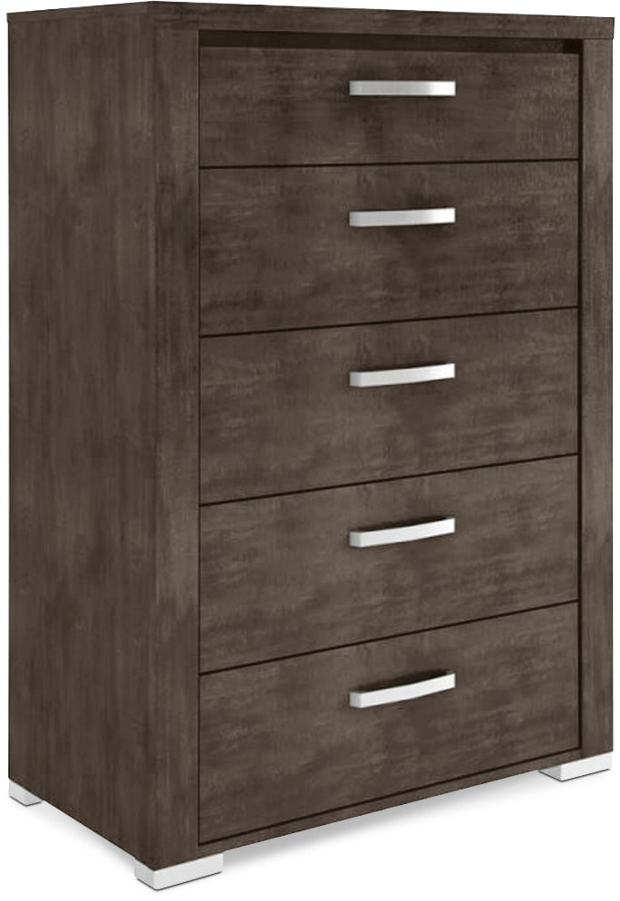 Bedroom Furniture - Monaco 5-Drawer Chest – Anthracite Grey