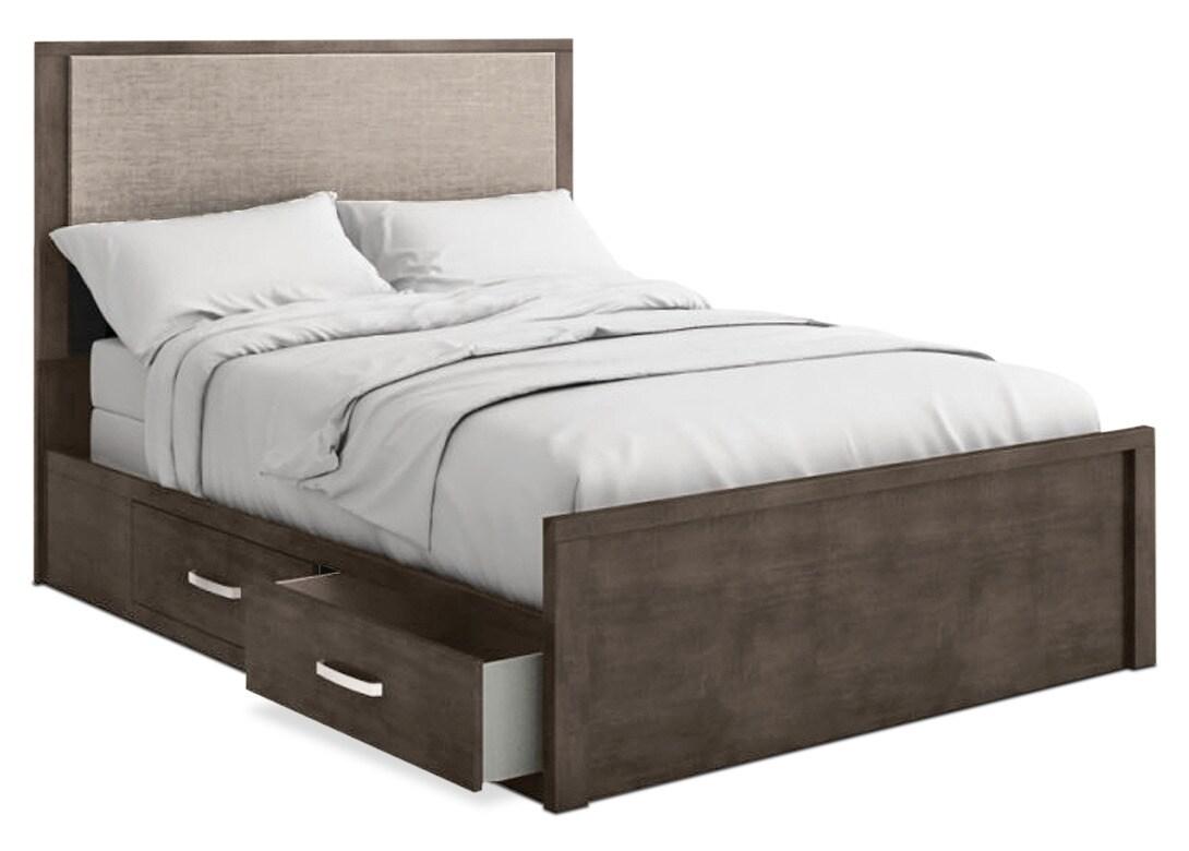 Chambre à coucher - Grand lit de rangement Monaco - anthracite