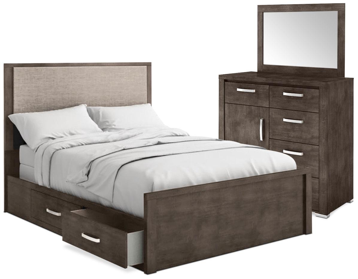 Chambre à coucher - Ensemble de chambre à coucher Monaco 5 pièces avec grand lit de rangement - anthracite