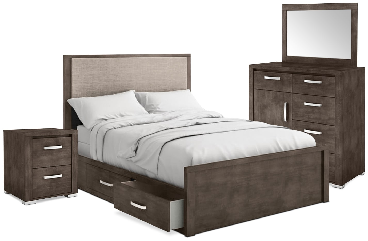 Chambre à coucher - Ensemble de chambre à coucher Monaco 6 pièces avec très grand lit de rangement - anthracite