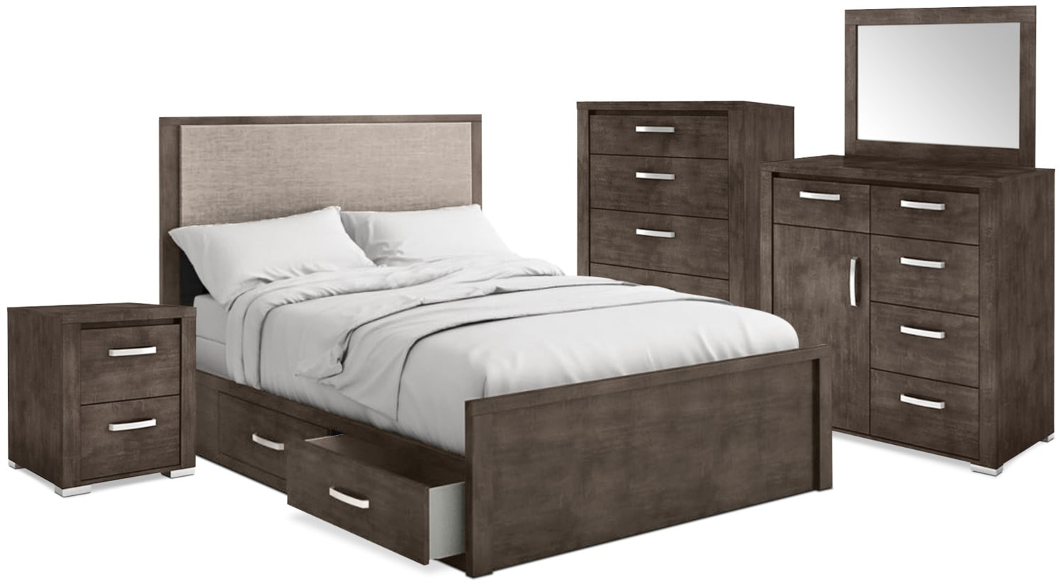 Monaco 7-Piece King Storage Bedroom Package – Anthracite Grey