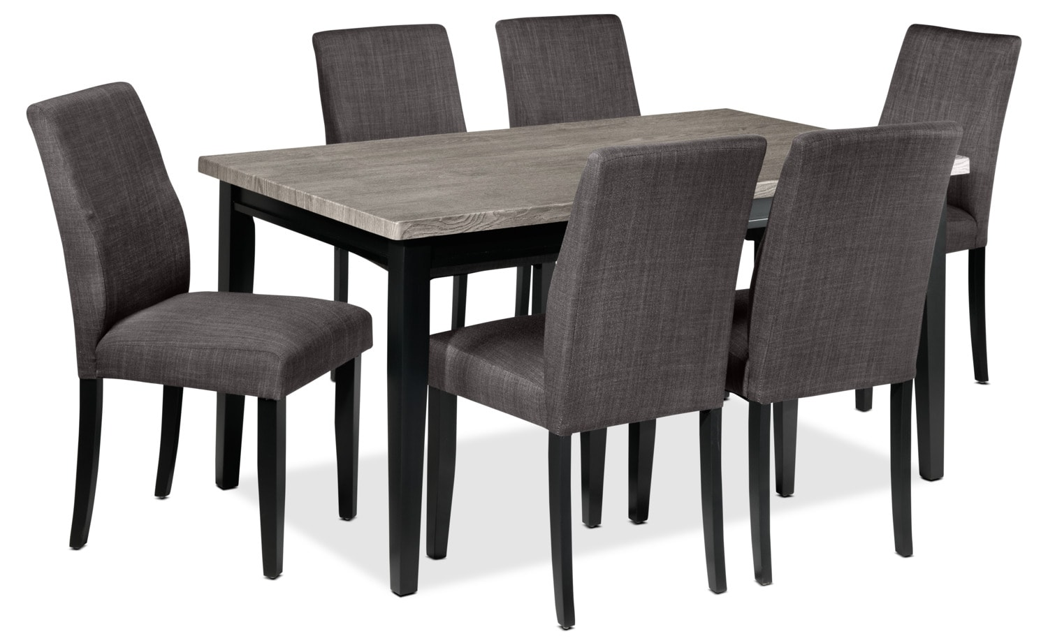 Alfred 7-Piece Dinette Set - Grey and Charcoal