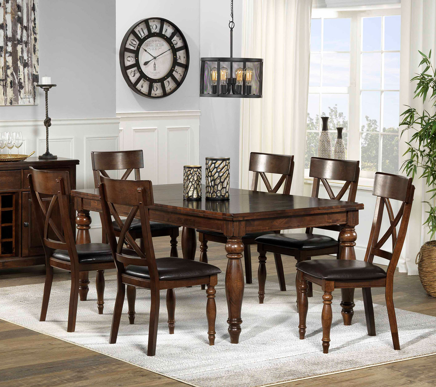 Pictures For Dining Room: Kingstown 7-Piece Dining Room Set - Chocolate