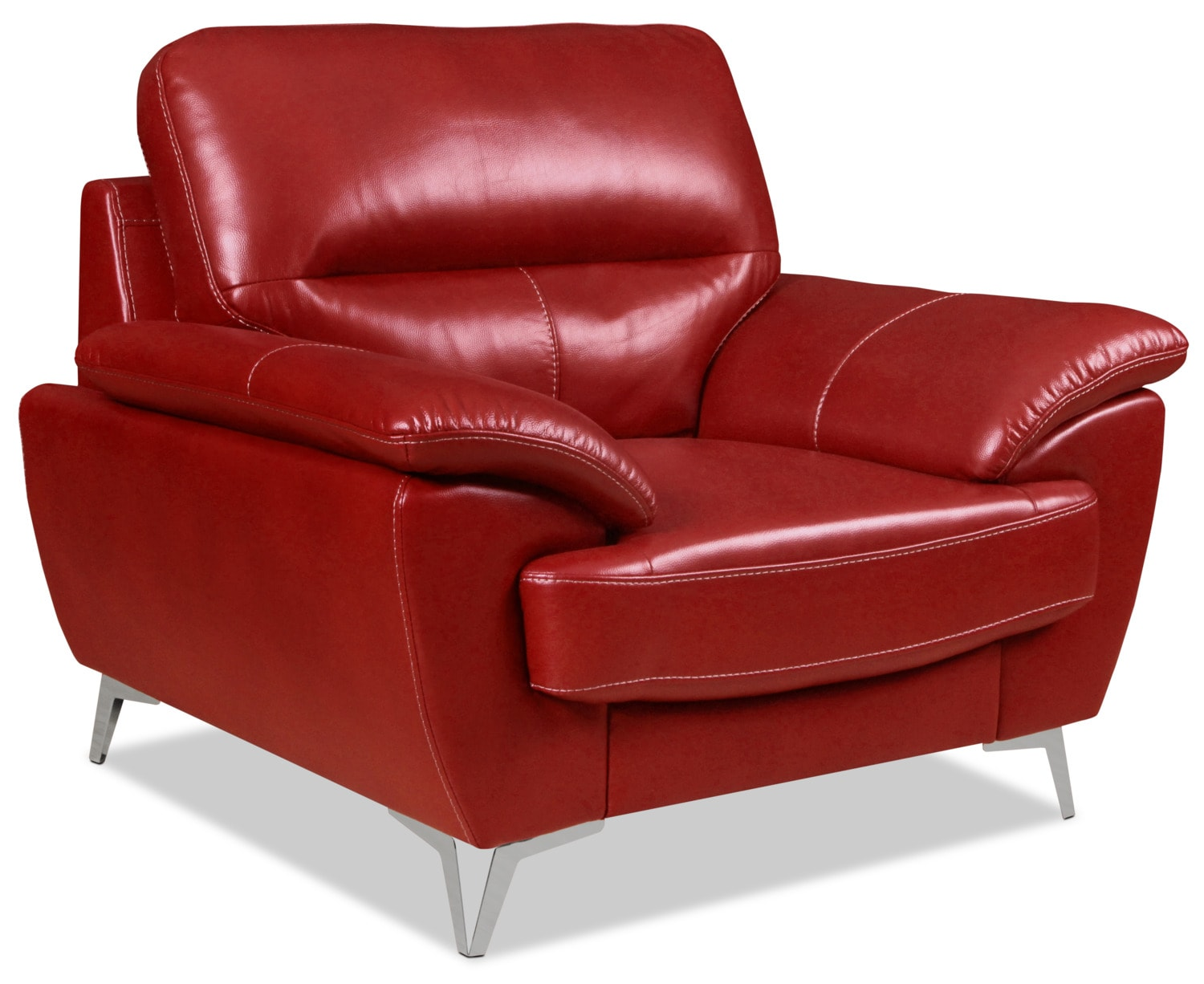 Olivia Leather-Look Fabric Chair – Red