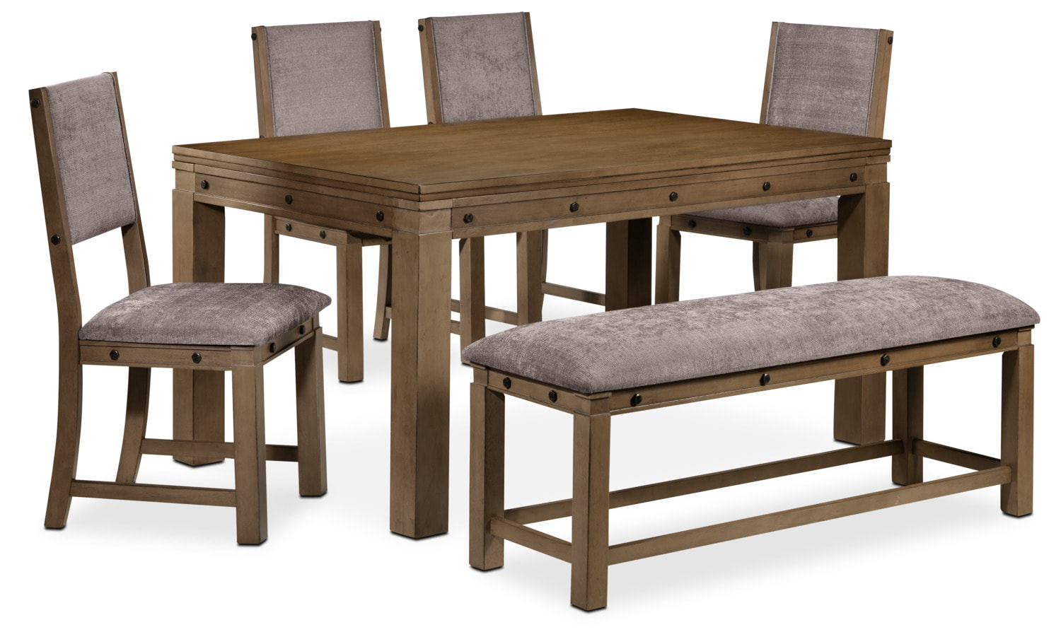 Bryce 6-Piece Dinette Set - Rustic Oak and Walnut