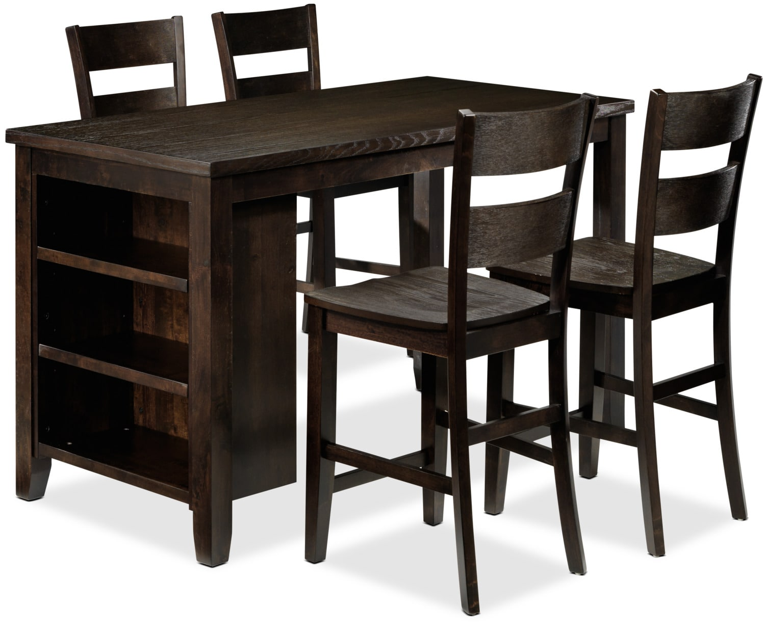 Jerry 5-Piece Pub-Height Kitchen Island Set - Rustic Brown