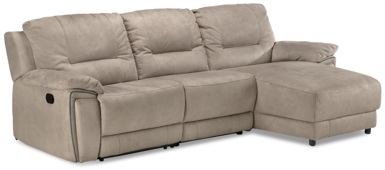 Pasadena 3-Piece Reclining Sofa with Right-Facing Chaise - Light Grey