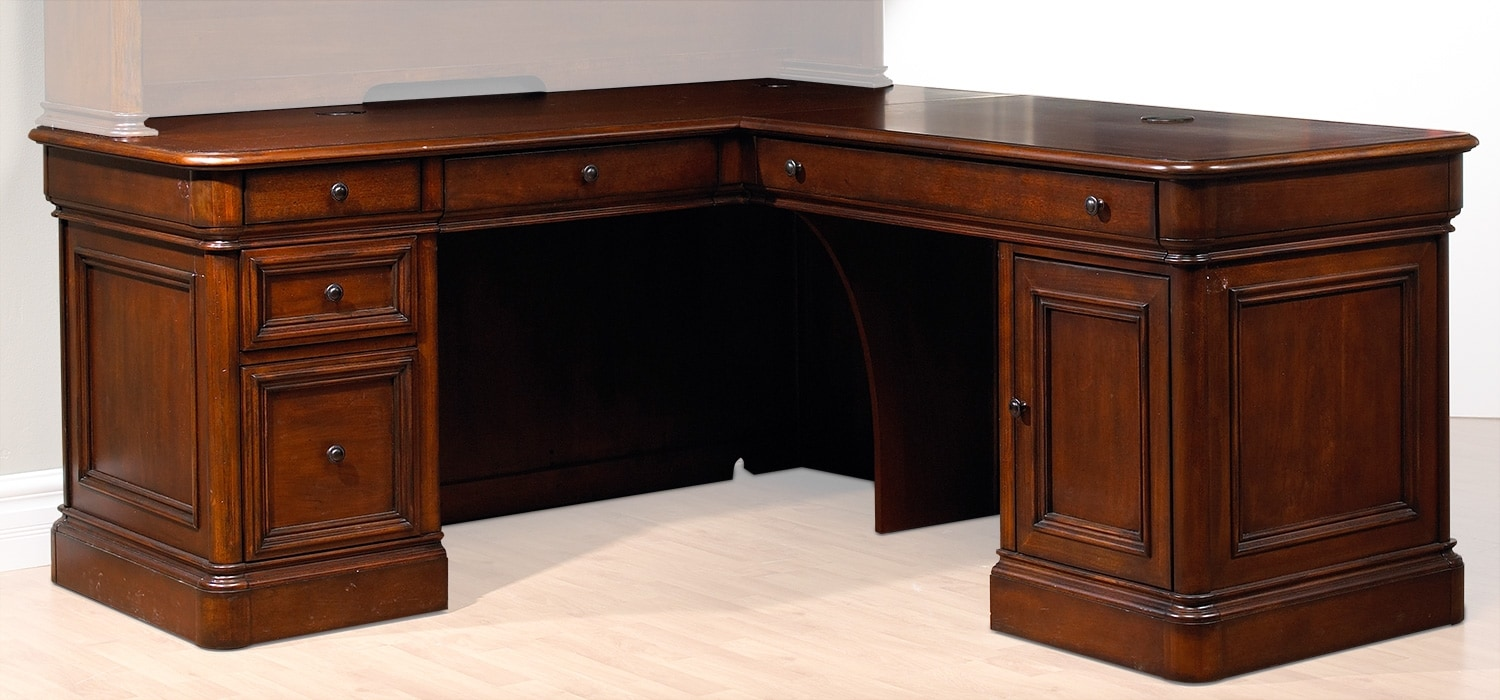 Villa toscana 4 piece corner desk brown cherry leon 39 s - Corner office desk ...