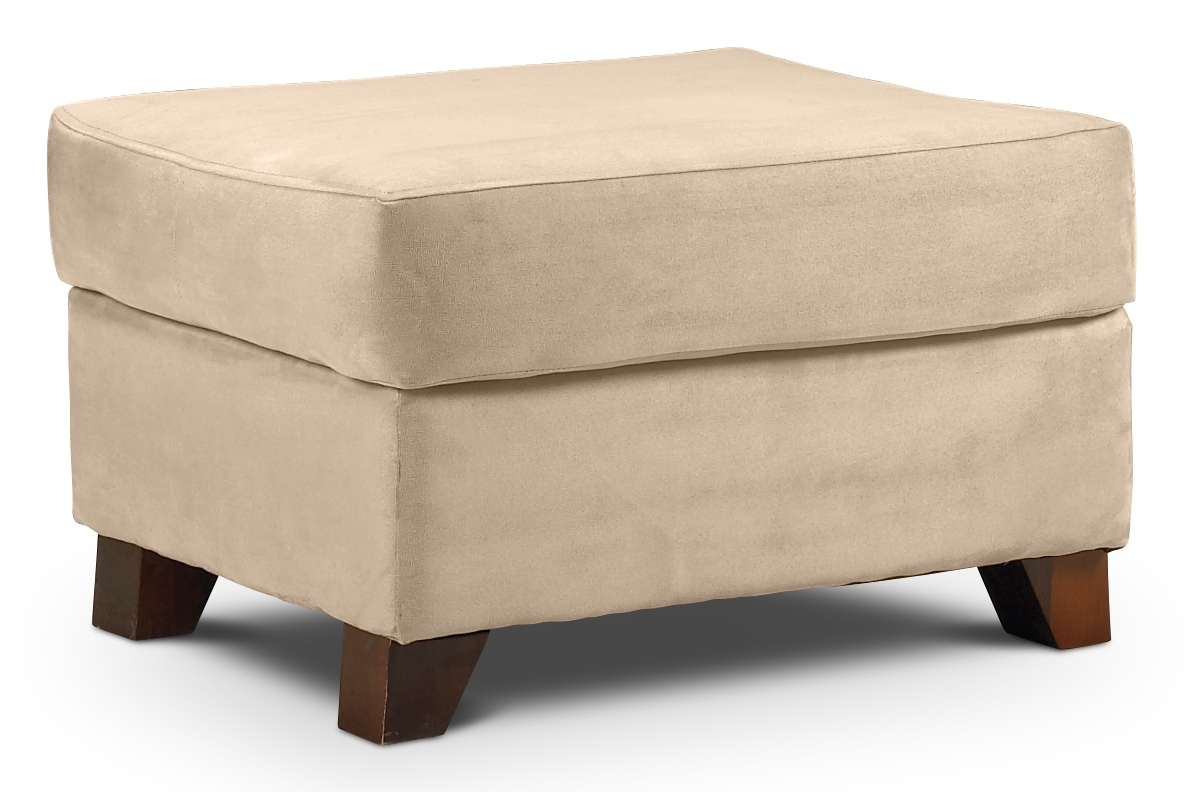 Living Room Furniture - Collier Ottoman - Beige
